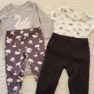 Carters 9 month onesie set leggings swan panda